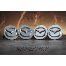 Set of 4 Silver Mazda alloy wheel caps