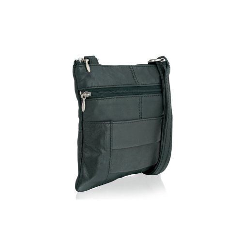 """Woodland Leather Forest Green Small Cross Body Bag 7.0"""" Multi Zip Adjustable Shoulder Straps"""