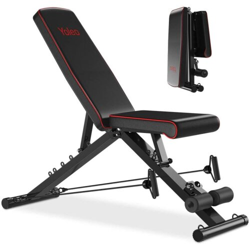 YOLEO Weight Bench(Upgrade Version)550 lbs Capacity, Folding Flat/Incline/Decline FID Bench