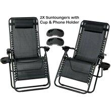 2X Reclining Garden Chairs Zero Gravity Sun Lounger W/Phone Cup Holder