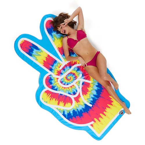 Beach towel Peace sign shape towel beach blanket Peace Peace Hippie sheets about 196 x 108 cm Size