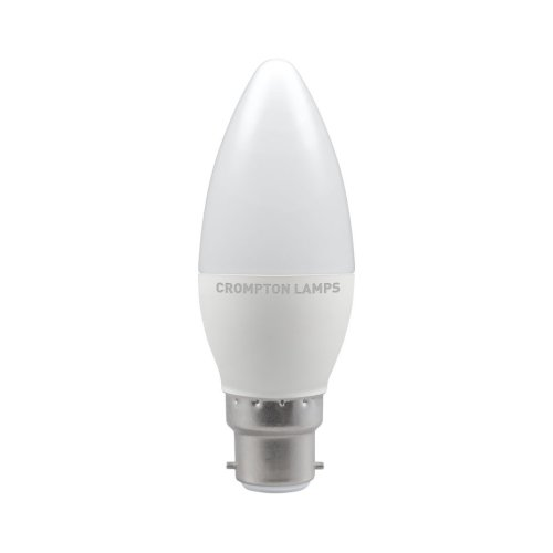 Crompton LED Thermal Plastic Candle Bulb, B22d 5.5W Non-Dimmable, Warm White, Opal Finish