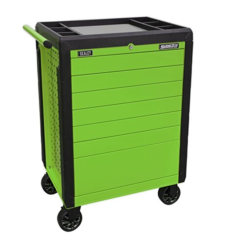 Sealey APPD7G 7 Drawer Push-To-Open Rollcab Hi-Vis Green
