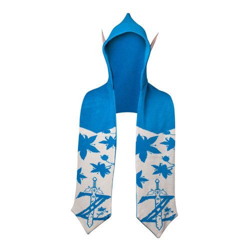 NINTENDO Legend of Zelda Twilight Princess Hooded Scarf With Ears Hooded Scarf, Blue/White (KS610308ZEL)