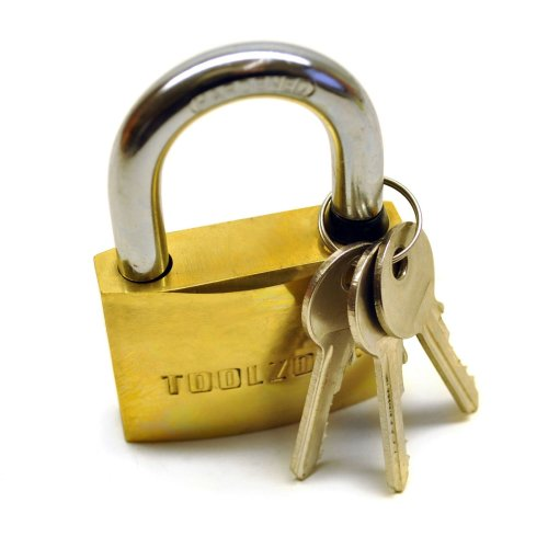 Brass Padlock 60mm Heavy Duty Shed Lock Security Chain TE366