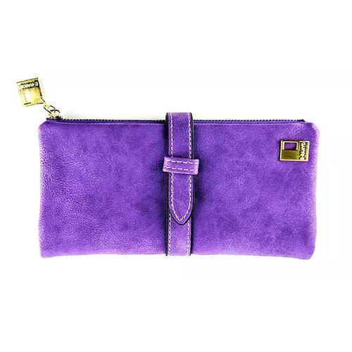 Wallets for Women Faux Suede Coin Purse Ladies Ultrathin Wallets -Purple