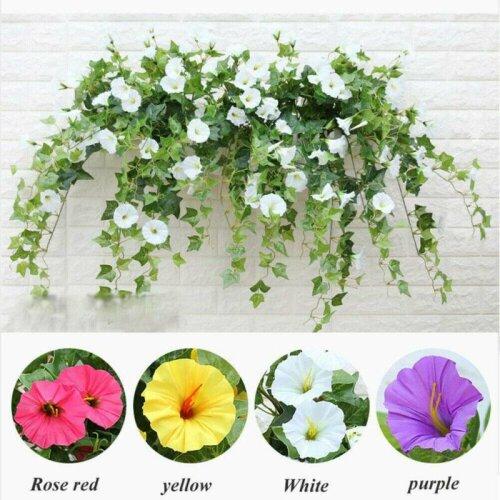 Hanging Basket Artificial Fake Silk Morning Glory Flower Vine In/Outdoor Decor
