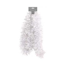 White / Silver Mix Traditional Christmas Tinsel 2 Metres (6.5 Ft) Trees Decoration Garland