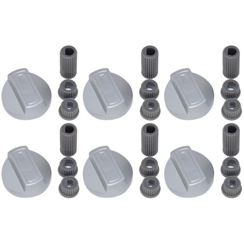 6 X New World Universal Cooker Oven Grill Hob Control Knob And Adaptors Silver
