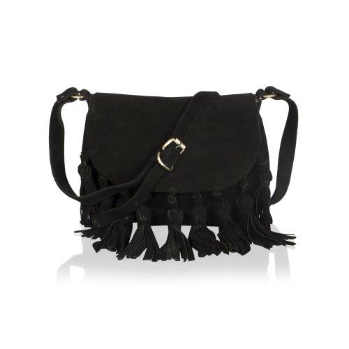"""Woodland Leather Black Suede 11.0"""" Flap Over Cross Body Bag With 9 Tassle Twist Knots Adjustable Shoulder Strap"""