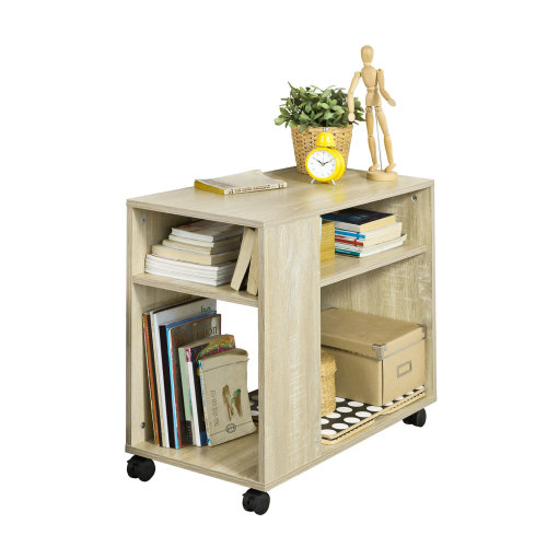 So Fbt34 N Side Table End Coffee With Storage Shelves On Wheels - Side Table With Storage Shelves