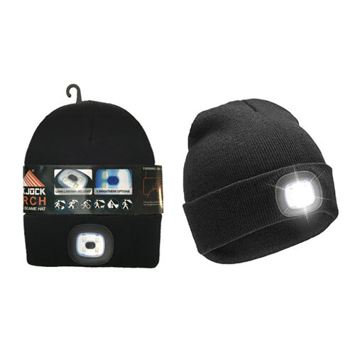 ADULTS HAT WITH REMOVABLE TORCH LIGHT BLACK,LED LIGHT BEANIE HAT FOR MEND&WOMEN