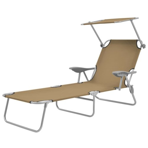 vidaXL Foldable Sunlounger with Canopy Taupe Outdoor Daybed Recliner Chair