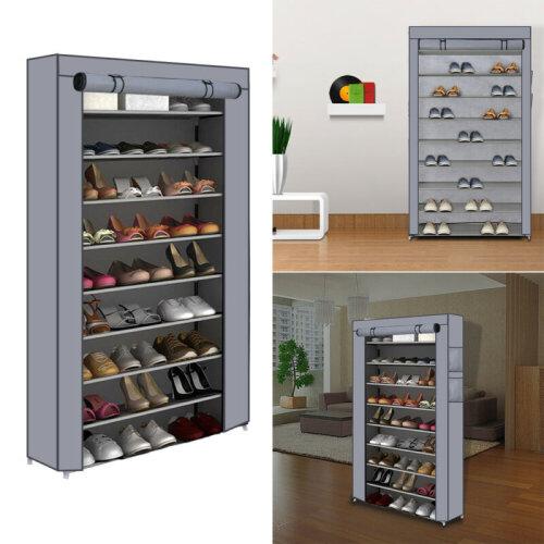 9 Tiers 50 Pairs Shoe Rack Dustproof Shelf Organiser Storage Shoes Cab