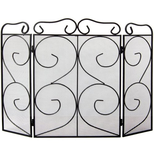 Tapton 3 Panel Fire Screen Guard Protector Fireplace Accessory Black