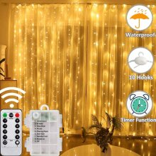 LED Curtain Lights 8 Modes Battery Operated Window Fairy Lights 200 LED Waterproof String Lights with Timer & Remote Control