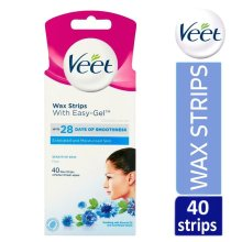 Veet Face Wax Strips With Easy-Gel For Sensitive Skin 40 Strips Finish Wipes
