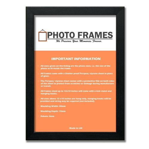 (Black, A5- 210x148mm) Picture Photo Frames Flat Wooden Effect Photo Frames