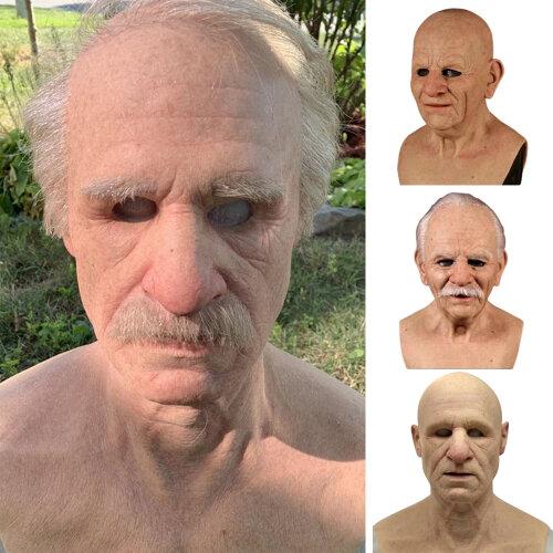 Halloween Old Man Full Head Mask Headgear Realistic Masquerade Props