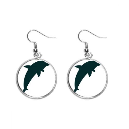Blue Ocean Streamline Cute Dolphin Ear Dangle Silver Drop Earring Jewelry Woman