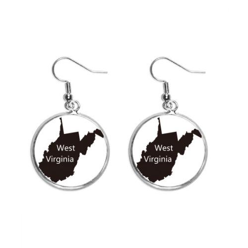 Virginia America USA West Map Silhouette Ear Dangle Silver Drop Earring Jewelry Woman