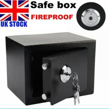 FIREPROOF STEEL SAFE SECURITY HOME OFFICE MONEY CASH SAFETY BOX W/KEY