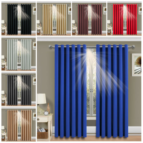 Thermal Blackout Eyelet Curtains Pair +2 Tie Backs 260GSM