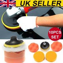 10X 3Inch Polishing Buffing Pad Kit Car Polishing Buffer Drill Adapter Tool UK