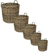 e2e Grey Kubu Rattan Wicker Strong Round Storage Display Kindling Log Basket