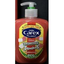 3 x Carex Drumstick Squashies Anitbacterial Hand Wash Raspberry & Milk
