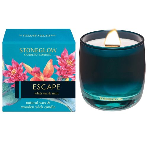 Stoneglow Infusion Natural Wax Scented Candle with Crackling Wooden Wick Escape
