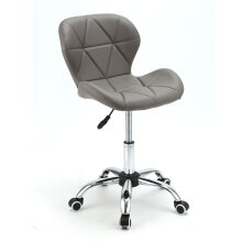 Grey Adjustable Cushioned Desk Chair With 360° Swivel Lift