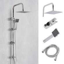 Shower Kit Twin 2 Mixer Shower Heads Rail Riser Square Bathroom Set