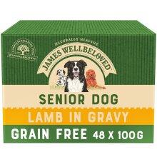 48 x 100g James Wellbeloved Grain-Free Senior Wet Dog Food Pouches Lamb in Gravy