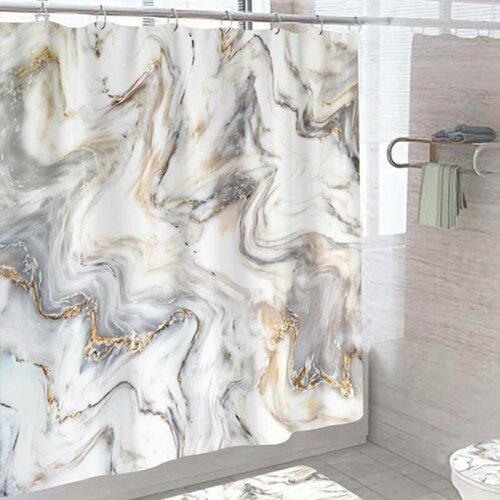 Marble Print Modern Fabric Shower Curtain with Ring Hook