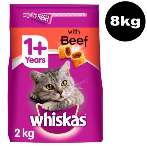 WHISKAS 1+ Cat Complete Dry With Beef 4x2kg