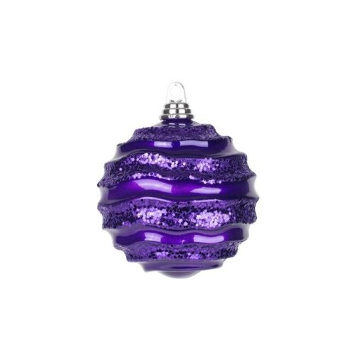 Vickerman M132026 Plum Candy Glitter Wave Ball Ornament - 6 in.