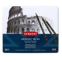Derwent 34202 Graphic Full Set Graphite Drawing Pencils, Professional Quality, Black ,Set of 24