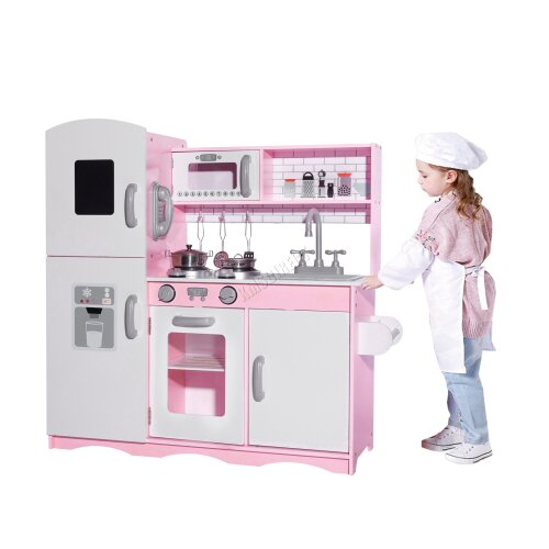 (Pink) GALACTICA Wooden Toy Kitchen   Wooden Activity Centre