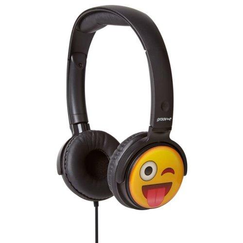 Groov-e GVEMJ11 EarMOJI's Over The Head Stereo Headphone Emoji - Cheeky Face