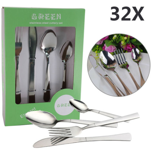 32 Silver Piece  Kitchen Stainless Steel Cutlery Set Tableware Dining