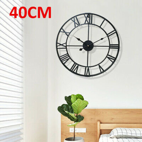 Large Home Wall Clock Big Roman Numberals Giant Open Face 40cm Round
