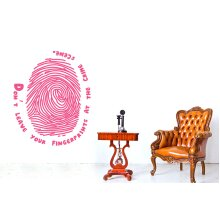 Dont Leave Your Fingerprints At The Crime Scene Wall Stickers Art Decals - Medium (Height 57cm x Width 46cm) Pink