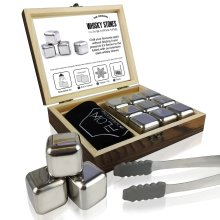 Stainless Steel Whisky Stones Gift Set with Wooden Presentation Box   Ice Cube Chilling Stone Rocks, Metal Reusable Ice Cubes