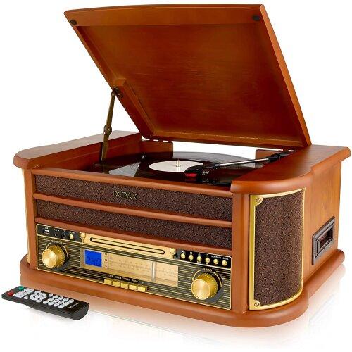 Retro Wooden Music Centre Hi-Fi Record CD Cassette Player Radio USB