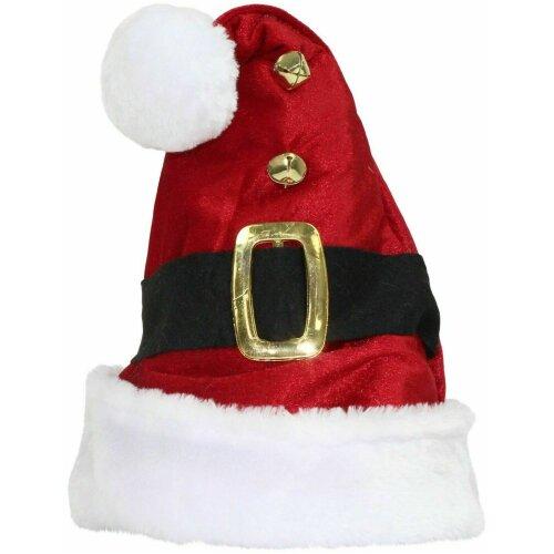 Christmas Santa Hat Set of 4 Adult Unisex Red Velvet White Fur Pompom Jingle Bel