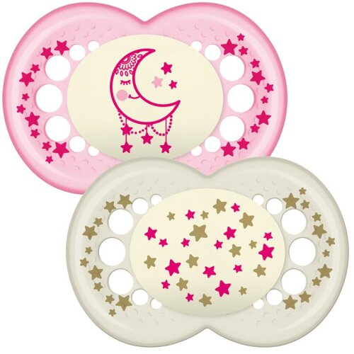 MAM Night Soother  Glows In The Dark   Use Box As Steriliser &Travel Case   Pink +12m