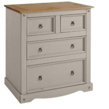 Corona Chest of Drawers 2+2 Grey Wax Solid Pine bedroom Furniture