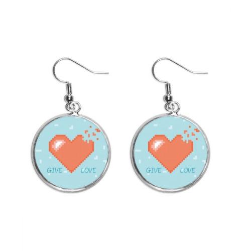 Disappear Heart Give Love Pixel Ear Dangle Silver Drop Earring Jewelry Woman