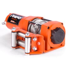 Rhino Electric Winch 3000lb / 1360kg 12V 12m Steel Cable Recovery Winch For ATV & Boats Including Fairlead Roller, Mounting Plate & Wireless Remotes